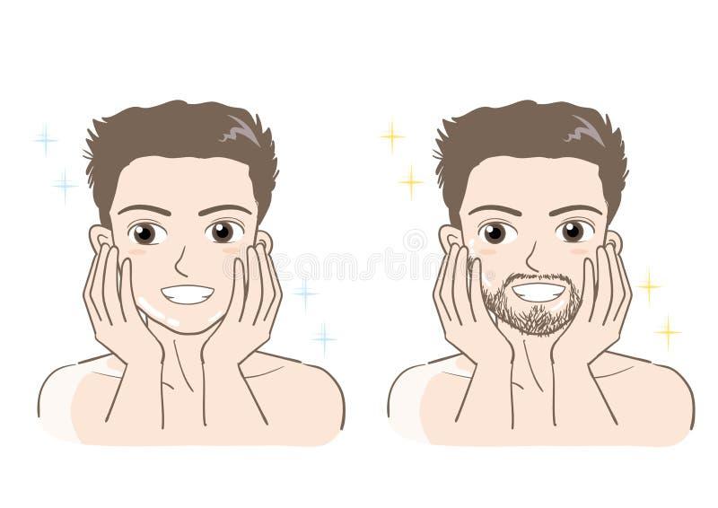 Φροντίδα αισθητικού δέρματος ατόμων καθορισμένη - τύπος χαμόγελου διανυσματική απεικόνιση