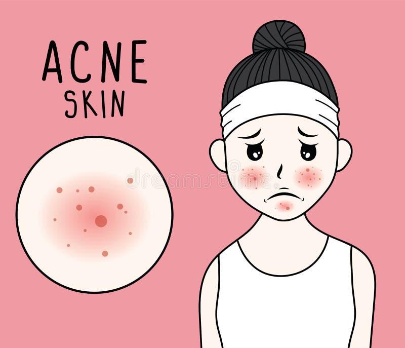 Φροντίδα δέρματος γυναικών και απεικόνιση ομορφιάς απεικόνιση αποθεμάτων
