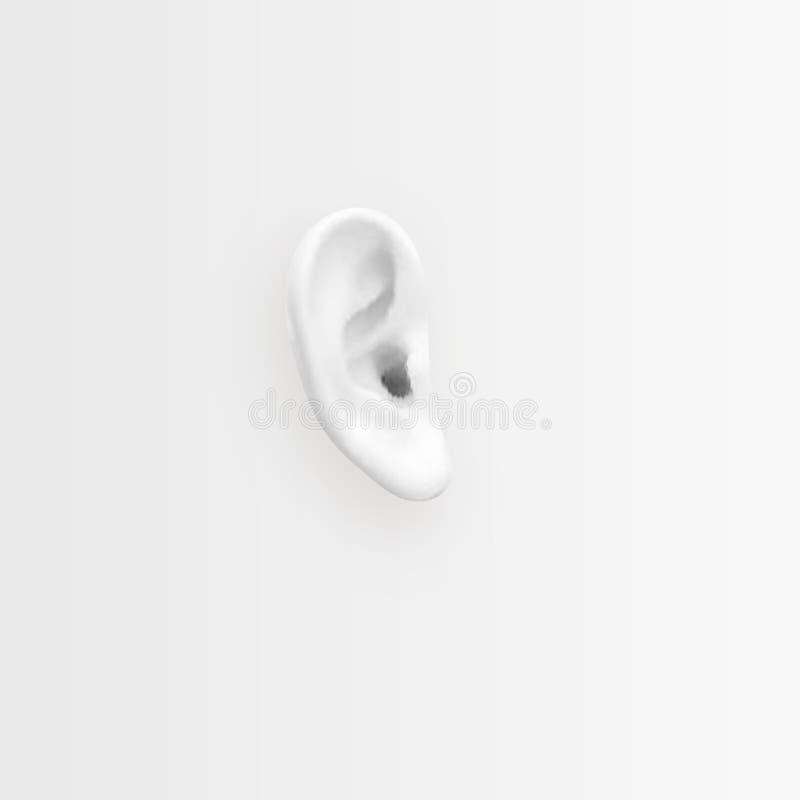 Φροντίστε την ακρόασή σας Υπόβαθρο με το ρεαλιστικό αυτί επίσης corel σύρετε το διάνυσμα απεικόνισης ελεύθερη απεικόνιση δικαιώματος