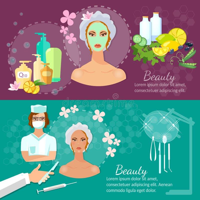 Φροντίδα δέρματος ομορφιάς των γυναικών εμβλημάτων πλαστικής χειρουργικής διανυσματική απεικόνιση