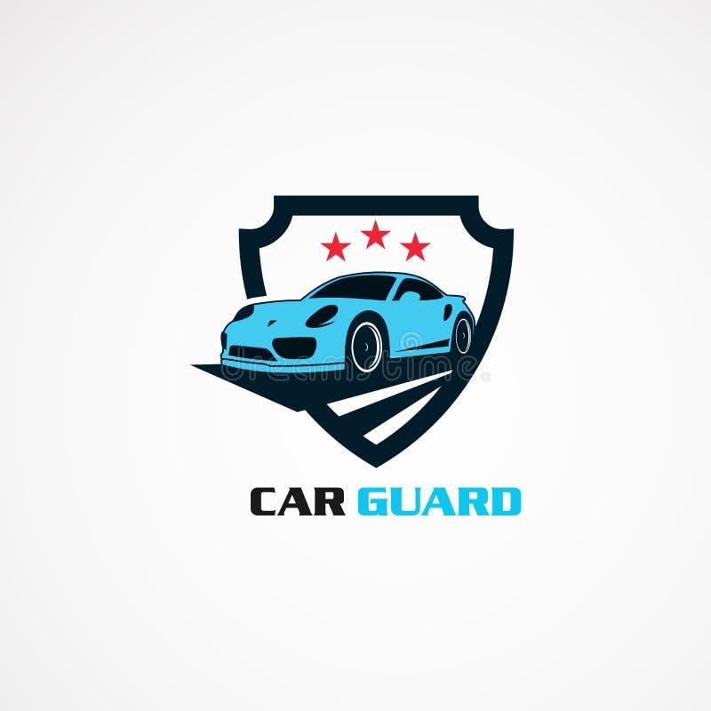 Φρουρά αυτοκινήτων με το κόκκινο διάνυσμα, το εικονίδιο, το στοιχείο, και το πρότυπο λογότυπων αστεριών για την επιχείρηση απεικόνιση αποθεμάτων