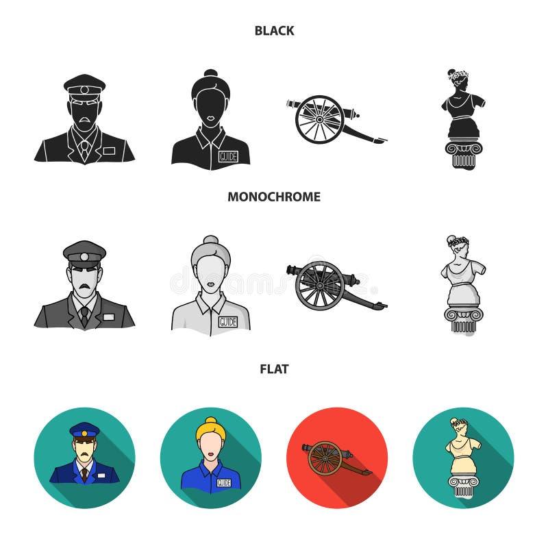 Φρουρά, οδηγός, άγαλμα, πυροβόλο όπλο Καθορισμένα εικονίδια συλλογής μουσείων στη μαύρη, επίπεδη, μονοχρωματική απεικόνιση αποθεμ απεικόνιση αποθεμάτων