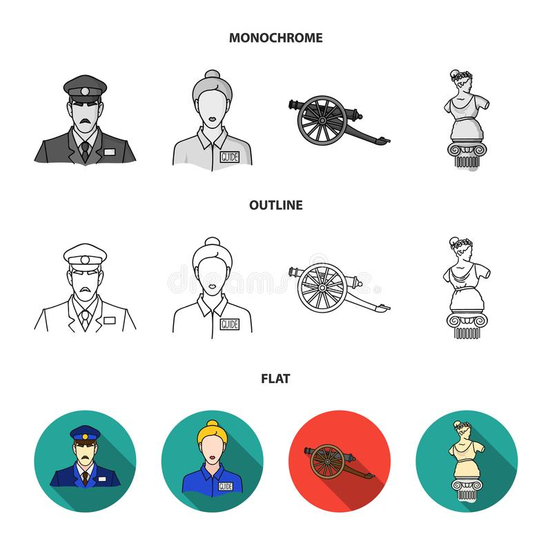 Φρουρά, οδηγός, άγαλμα, πυροβόλο όπλο Καθορισμένα εικονίδια συλλογής μουσείων στο επίπεδο, περίληψη, μονοχρωματική απεικόνιση απο απεικόνιση αποθεμάτων