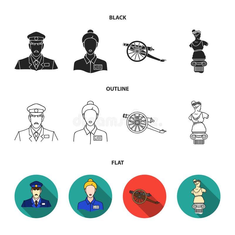 Φρουρά, οδηγός, άγαλμα, πυροβόλο όπλο Καθορισμένα εικονίδια συλλογής μουσείων στο Μαύρο, επίπεδος, διανυσματικός Ιστός απεικόνιση διανυσματική απεικόνιση