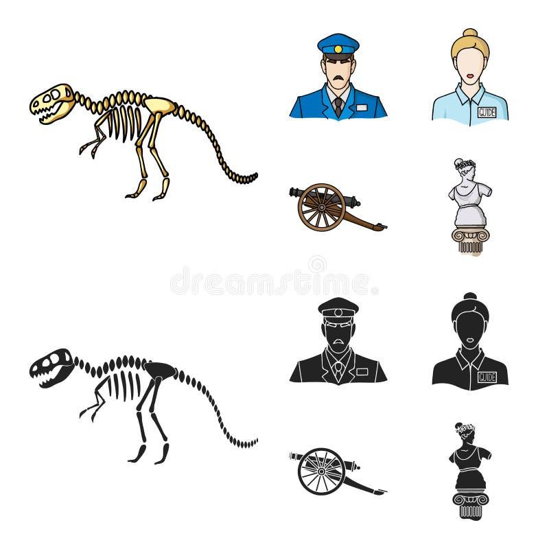 Φρουρά, οδηγός, άγαλμα, πυροβόλο όπλο Καθορισμένα εικονίδια συλλογής μουσείων στα κινούμενα σχέδια, μαύρος Ιστός απεικόνισης αποθ ελεύθερη απεικόνιση δικαιώματος