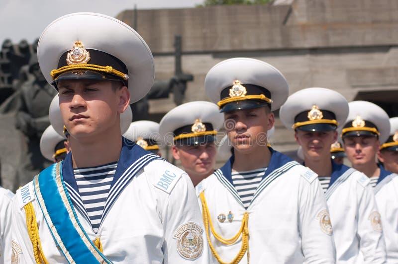 Φρουρά της τιμής στον εορτασμό ημέρας νίκης σε Kyiv, Ουκρανία στοκ φωτογραφία