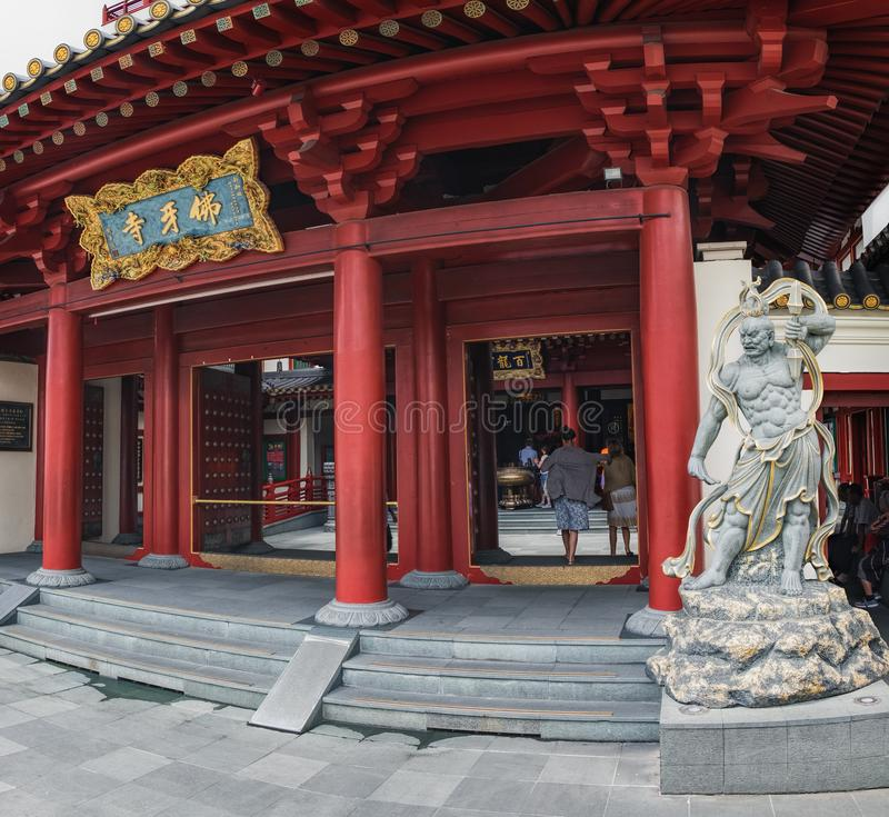 Φρουρά του ναού λειψάνων δοντιών του Βούδα στη Σιγκαπούρη στοκ φωτογραφίες