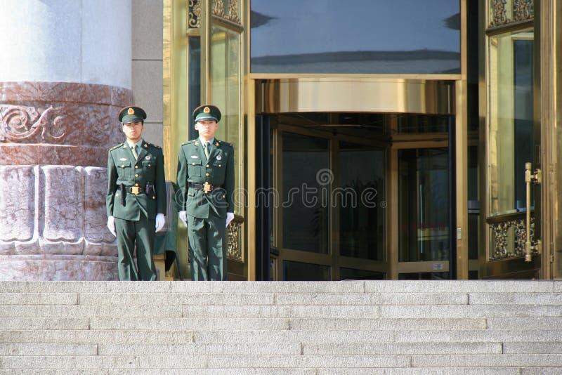 Φρουρές - μεγάλη αίθουσα των ανθρώπων - Πεκίνο - Κίνα στοκ φωτογραφίες με δικαίωμα ελεύθερης χρήσης
