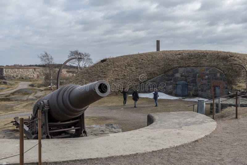 Φρούριο Ελσίνκι θάλασσας Suomenlinna πυροβόλων στοκ εικόνες με δικαίωμα ελεύθερης χρήσης