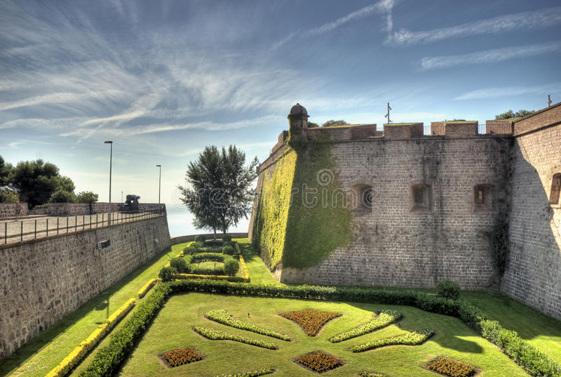 Φρούριο Castell de Montjuic της Βαρκελώνης σε HDR στοκ εικόνες
