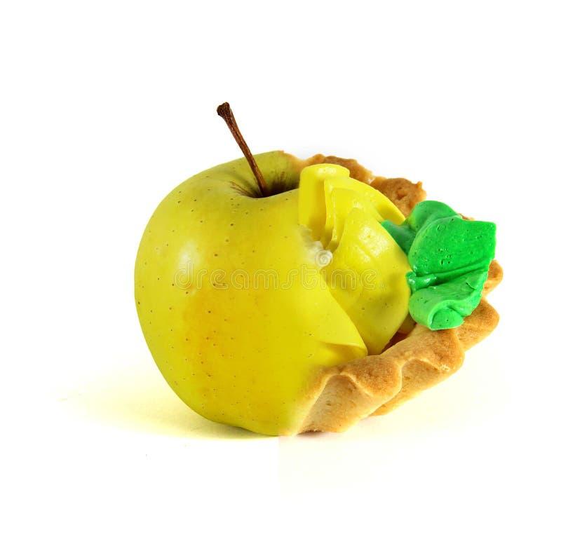 Φρούτα ή κέικ, επιλογή η ανασκόπηση απομόνωσε το λευκό στοκ φωτογραφία με δικαίωμα ελεύθερης χρήσης