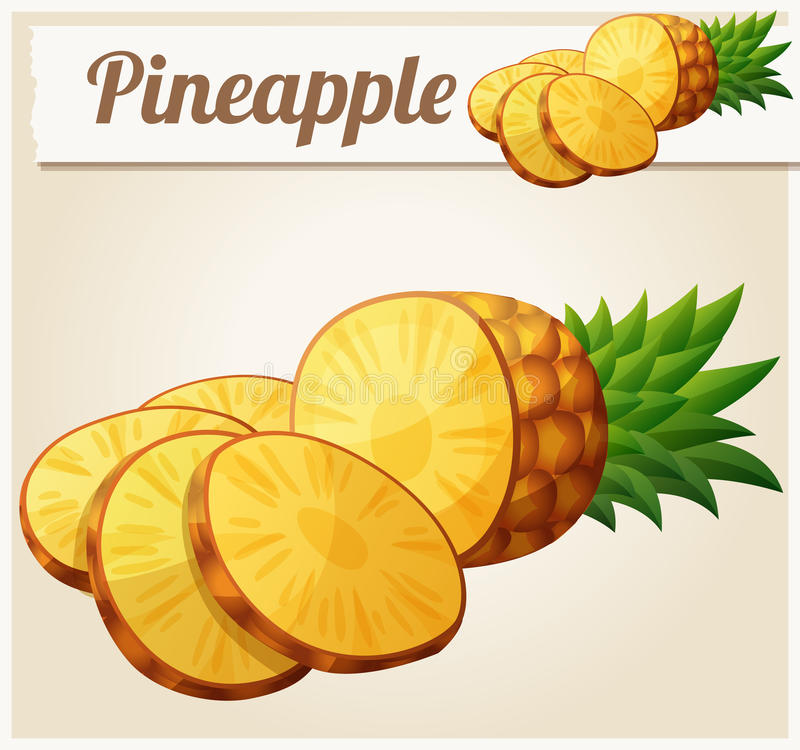 Φρούτα ανανάδων ανανά Διανυσματικό εικονίδιο κινούμενων σχεδίων διανυσματική απεικόνιση