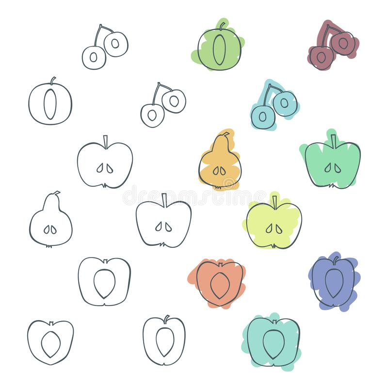 Φρούτα δέντρων περιλήψεων απεικόνιση αποθεμάτων