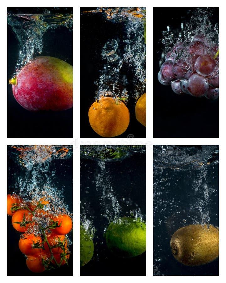 Φρούτα και λαχανικά που περιέρχονται στο νερό στοκ εικόνες με δικαίωμα ελεύθερης χρήσης