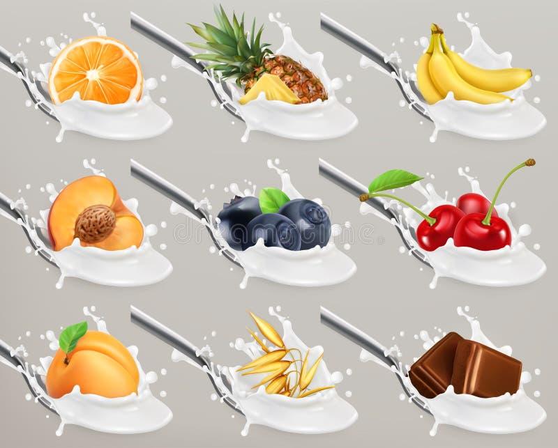 Φρούτα και γιαούρτι μούρων παφλασμός γάλακτος τρισδιάστατο διανυσματικό σύνολο εικονιδίων διανυσματική απεικόνιση