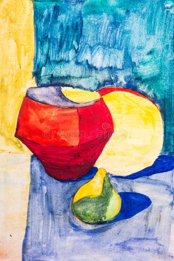 Φρούτα και κανάτα που χρωματίζονται με μια βούρτσα στοκ εικόνες με δικαίωμα ελεύθερης χρήσης