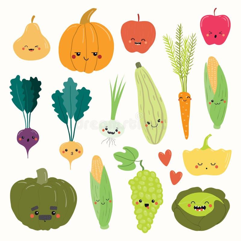 Φρούτα και λαχανικά Kawaii καθορισμένα διανυσματική απεικόνιση
