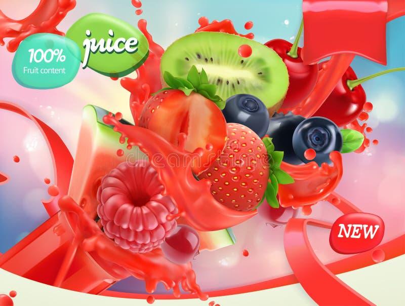 Φρούτα και μούρα μιγμάτων Παφλασμός του χυμού τρισδιάστατο διάνυσμα, σχέδιο συσκευασίας διανυσματική απεικόνιση