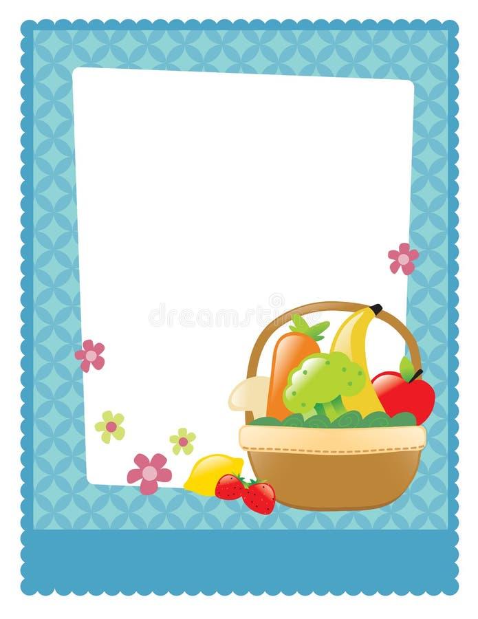 Φρούτα και χορτοφάγο ιπτάμενο καλαθιών διανυσματική απεικόνιση