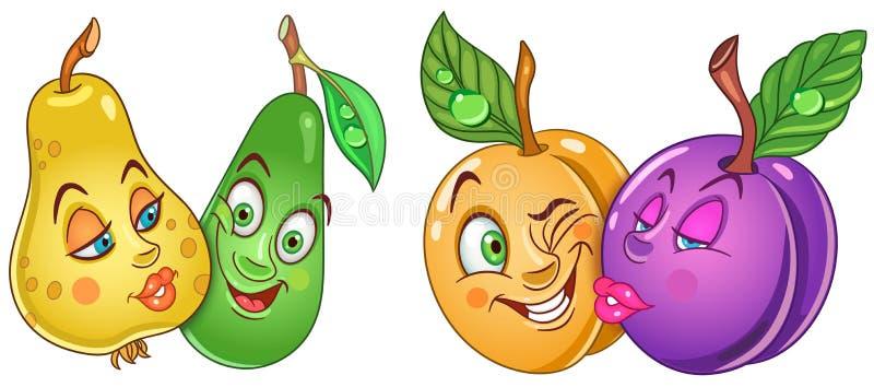 Φρούτα κινούμενων σχεδίων ερωτευμένα ελεύθερη απεικόνιση δικαιώματος