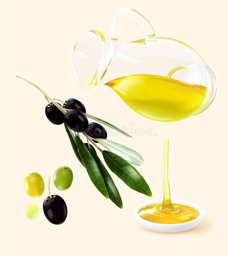 Φρούτα κλάδων πετρελαίου κανατών στοιχείων ελαιολάδου ελεύθερη απεικόνιση δικαιώματος