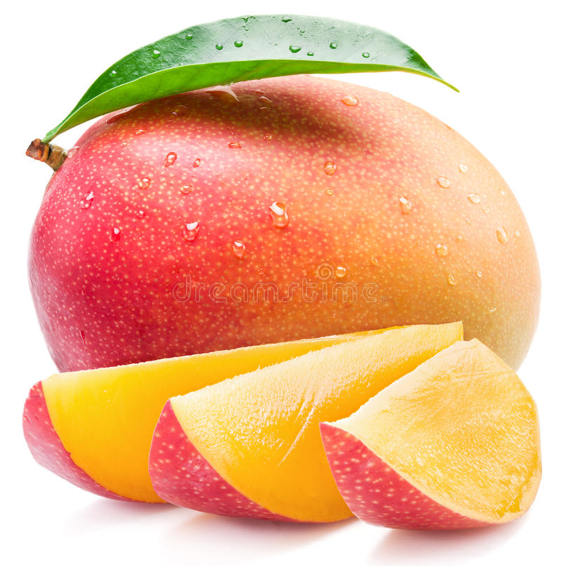 Φρούτα μάγκο και φέτες μάγκο η σκούπα απομόνωσε το λε&u στοκ εικόνες