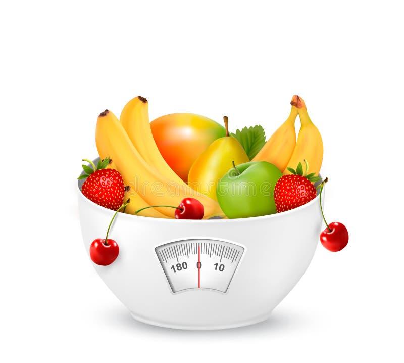Φρούτα με σε μια κλίμακα βάρους. Έννοια διατροφής. απεικόνιση αποθεμάτων