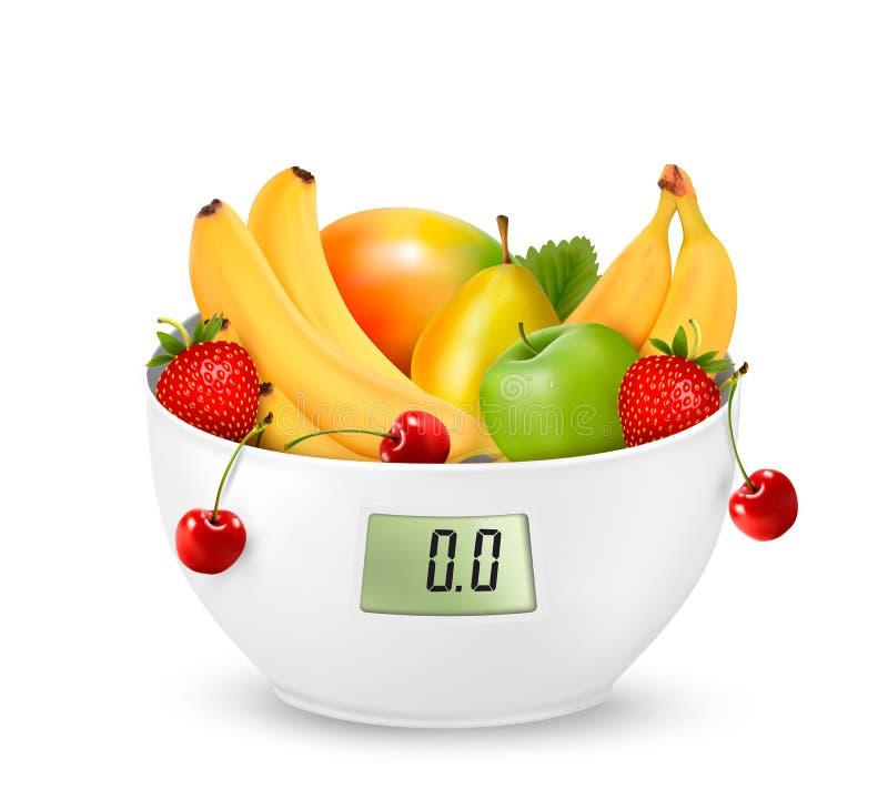 Φρούτα με σε μια ψηφιακή κλίμακα βάρους σιτηρέσιο έννοιας ελεύθερη απεικόνιση δικαιώματος