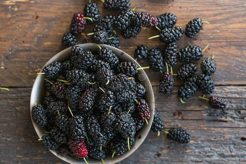 Φρούτα μουριών στο κύπελλο Μουριά κατασκευασμένη Τοπ όψη στοκ φωτογραφίες με δικαίωμα ελεύθερης χρήσης