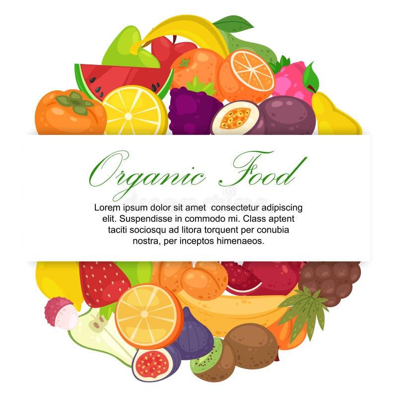 Φρούτα οργανικά για τη διανυσματική απεικόνιση εμβλημάτων αγροτικής αγοράς Φρέσκα και φυσικά τρόφιμα Μπανάνα, καρπούζι, σταφύλια ελεύθερη απεικόνιση δικαιώματος