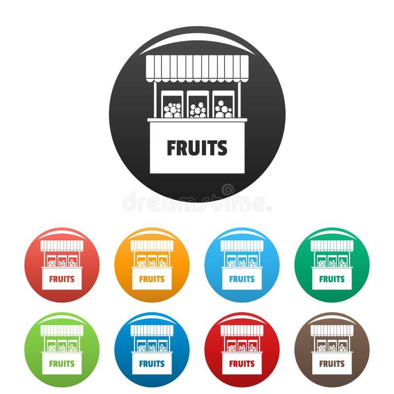 Φρούτα που πωλούν τα εικονίδια καθορισμένα το διάνυσμα χρώματος διανυσματική απεικόνιση