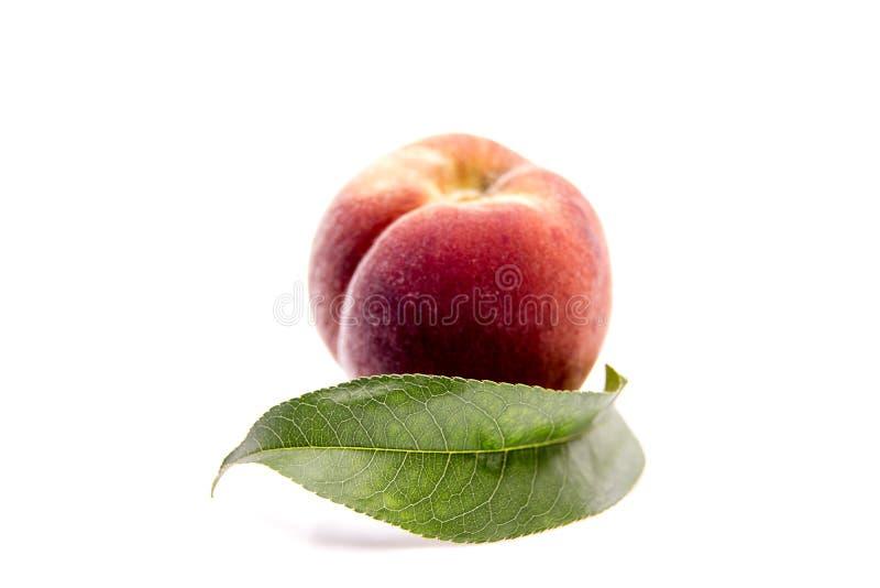 φρούτα ροδάκινων με το πράσινο φύλλο που απομονώνεται στο άσπρο υπόβαθρο στοκ εικόνα
