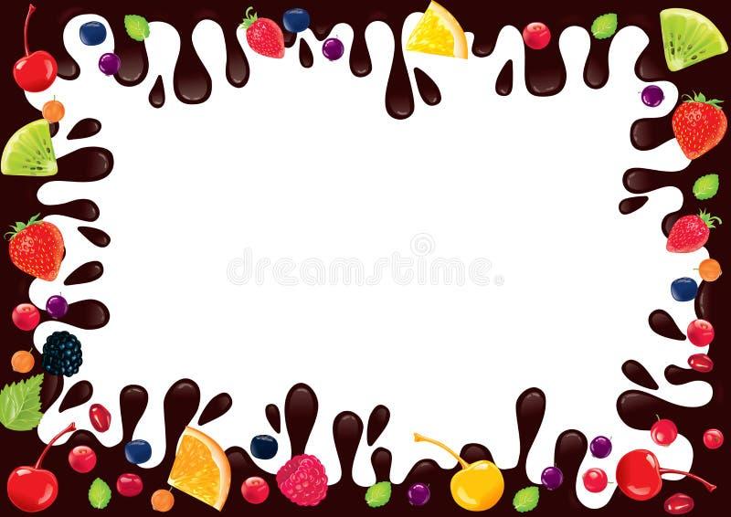 Φρούτα σοκολάτας πλαισίων διανυσματική απεικόνιση