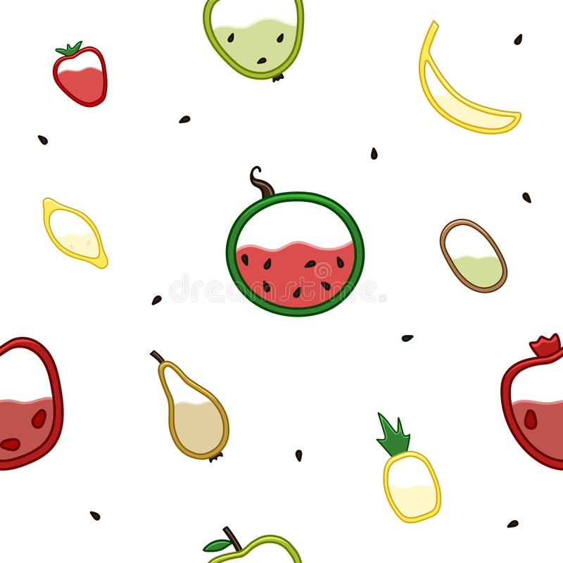 Φρούτα στο σχέδιο τμηματικής άποψης διανυσματική απεικόνιση