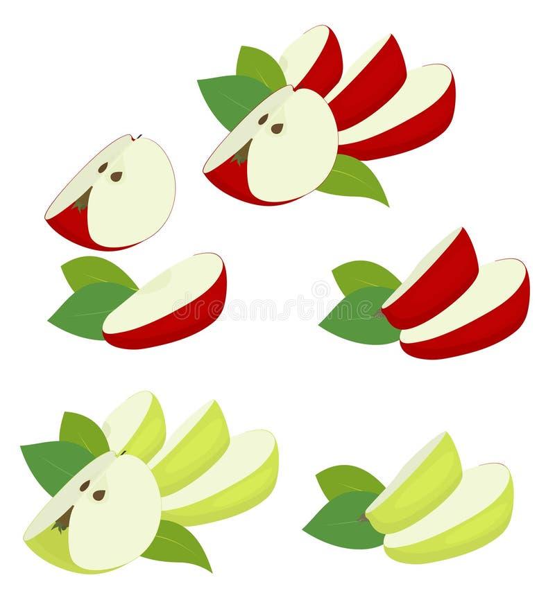 Φρούτα της Apple κόκκινα και πράσινα Τέταρτο της Apple, φέτες και φύλλο μήλων που απομονώνεται στο άσπρο υπόβαθρο Διανυσματική απ ελεύθερη απεικόνιση δικαιώματος