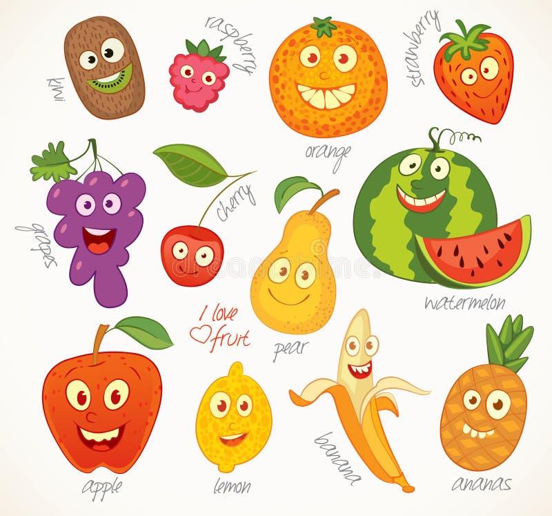 Φρούτα χαρακτήρας κινουμένων σχ&eps διανυσματική απεικόνιση
