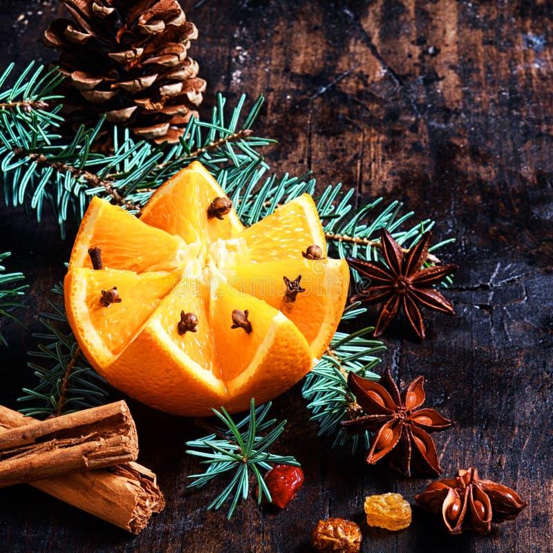 Φρούτα Χριστουγέννων και υπόβαθρο καρυκευμάτων στοκ εικόνες