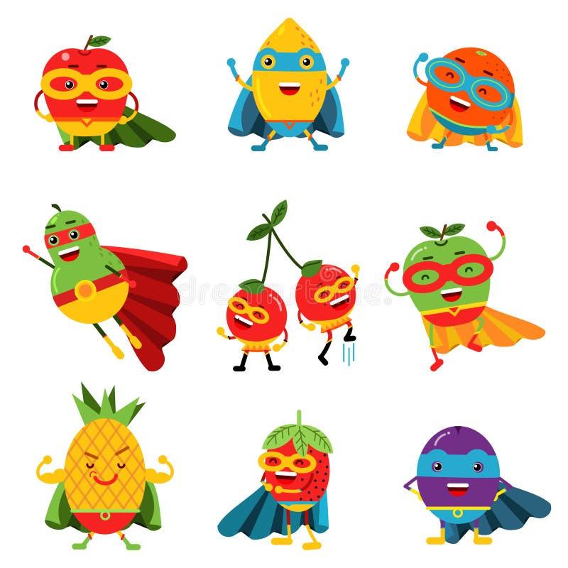 Φρούτα Superheroes στο διαφορετικό σύνολο κοστουμιών ζωηρόχρωμων διανυσματικών απεικονίσεων ελεύθερη απεικόνιση δικαιώματος