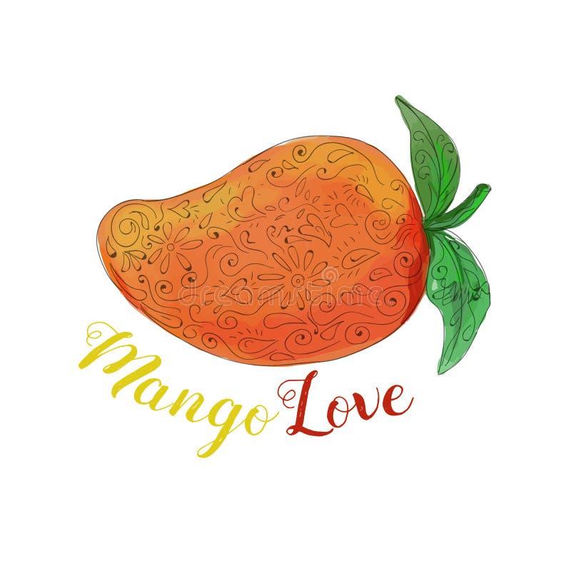 Φρούτα Watercolor Mandala αγάπης μάγκο διανυσματική απεικόνιση