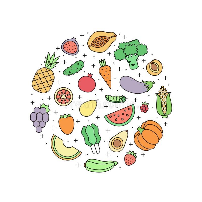 Φρούτων και λαχανικών πολύχρωμη απεικόνιση κύκλων περιλήψεων διανυσματική Σχέδιο Minimalistic απεικόνιση αποθεμάτων