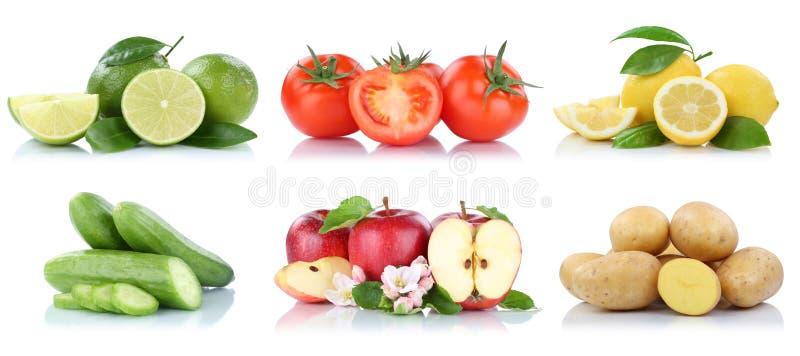 Φρούτων νωποί καρποί χρωμάτων λεμονιών ντοματών μήλων μήλων λαχανικών απομονωμένοι συλλογή στοκ φωτογραφία με δικαίωμα ελεύθερης χρήσης
