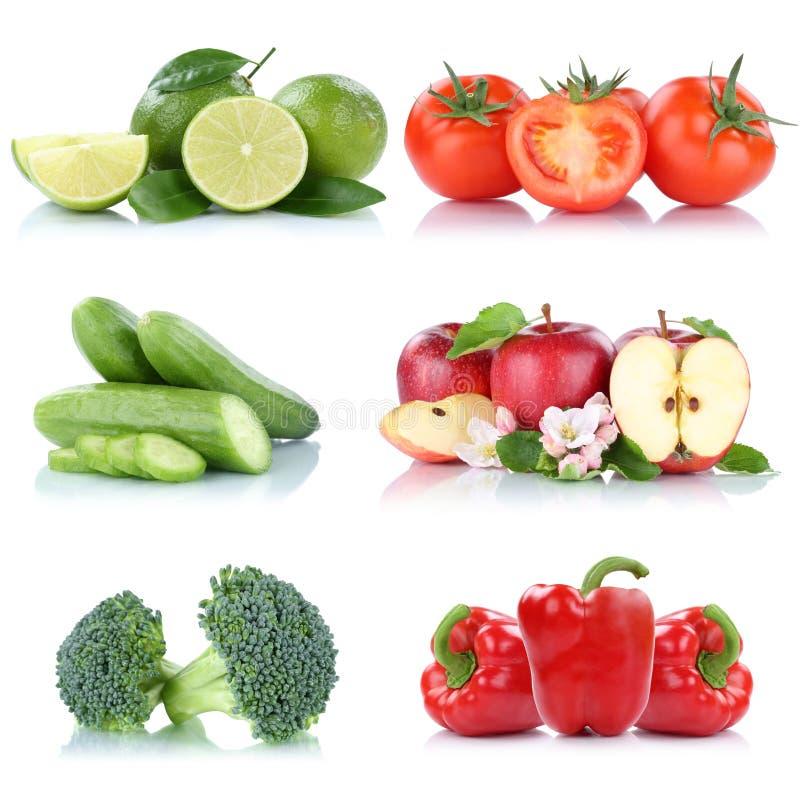 Φρούτων νωποί καρποί χρωμάτων πιπεριών κουδουνιών ντοματών μήλων μήλων λαχανικών απομονωμένοι συλλογή στοκ εικόνα με δικαίωμα ελεύθερης χρήσης