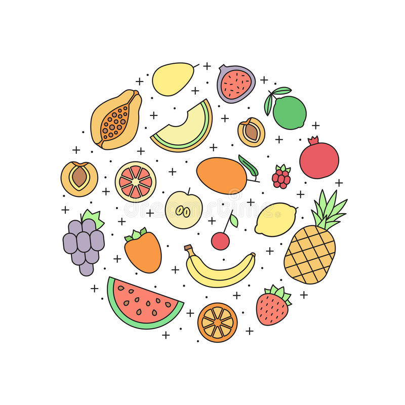 Φρούτων πολύχρωμη απεικόνιση κύκλων περιλήψεων διανυσματική σύγχρονο minimalistic σχέδιο απεικόνιση αποθεμάτων