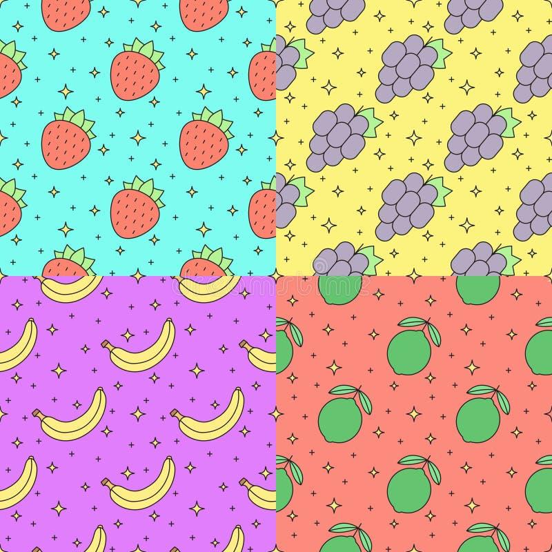 Φρούτων πολύχρωμο σύνολο σχεδίων περιλήψεων άνευ ραφής διανυσματικό (φράουλα, σταφύλι, μπανάνα, ασβέστης) μέρος δύο απεικόνιση αποθεμάτων
