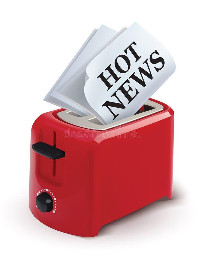 Φρυγανιέρα με μια εφημερίδα που απομονώνεται στο λευκό καυτές ειδήσεις απεικόνιση αποθεμάτων