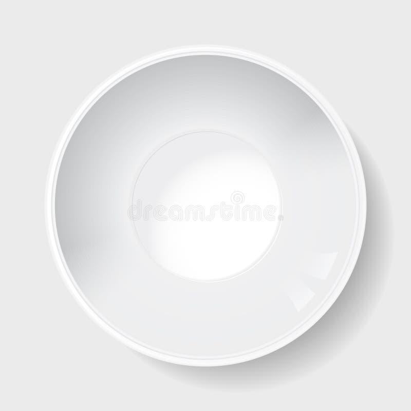 φταμένο κεραμικό βαθύ μεγάλο λευκό πιάτων διανυσματική απεικόνιση