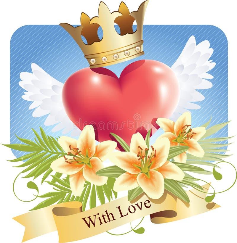 φτερά αγάπης κρίνων καρδιών &eps διανυσματική απεικόνιση