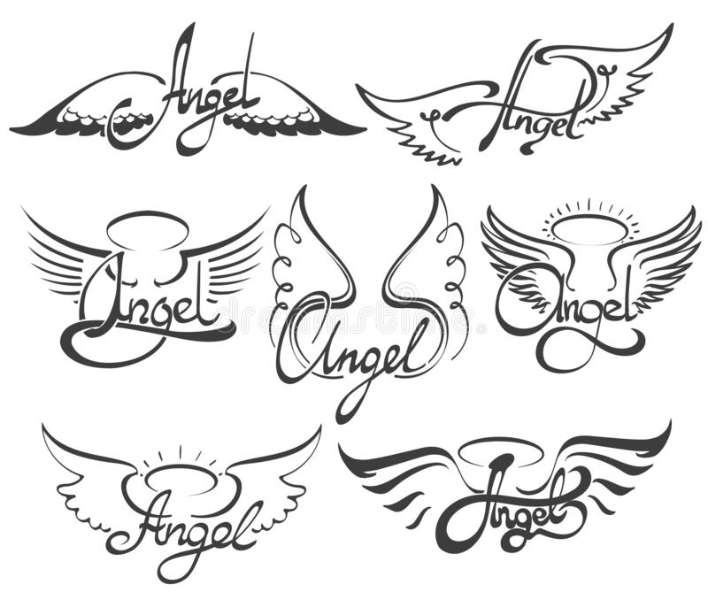 Φτερά αγγέλου καθορισμένα διανυσματική απεικόνιση
