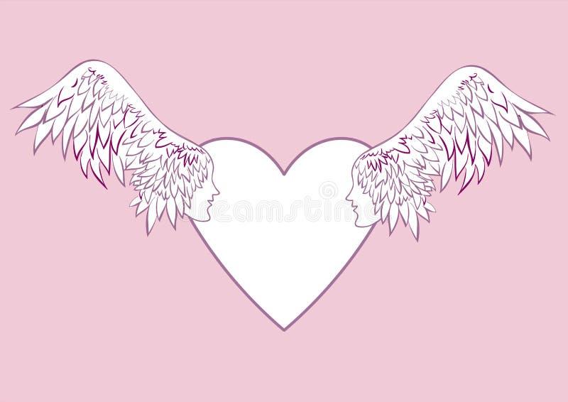 Φτερά αγγέλου με ένα ανθρώπινο πρόσωπο στο πλαίσιο με μορφή μιας καρδιάς διανυσματική απεικόνιση