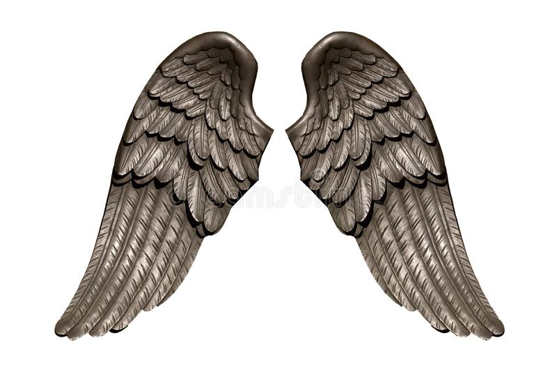 Φτερά αγγέλου, φυσικό μαύρο φτέρωμα φτερών που απομονώνεται στο άσπρο υπόβαθρο στοκ φωτογραφία